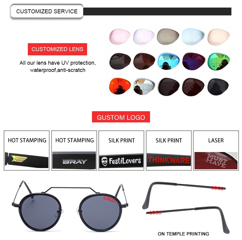 Retro Brazil Female Round Frame Glasses Metal Trend Hugely Popular Women Sunglasses