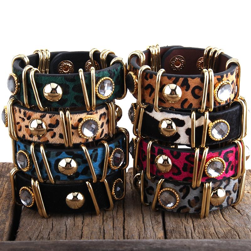 Di modo Boho Cuoio Armbander di colore Dell'oro del Metallo di Rettangolo Reale Del Leopardo Coda di Cavallo Bracciali In Pelle Per Le Donne del Regalo
