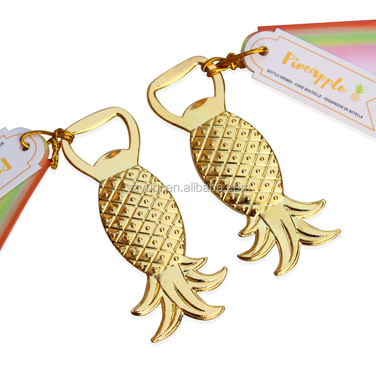 Hot Selling Golden Pineapple Bottle Opener with Tag Card for Wedding Party Favors Gift