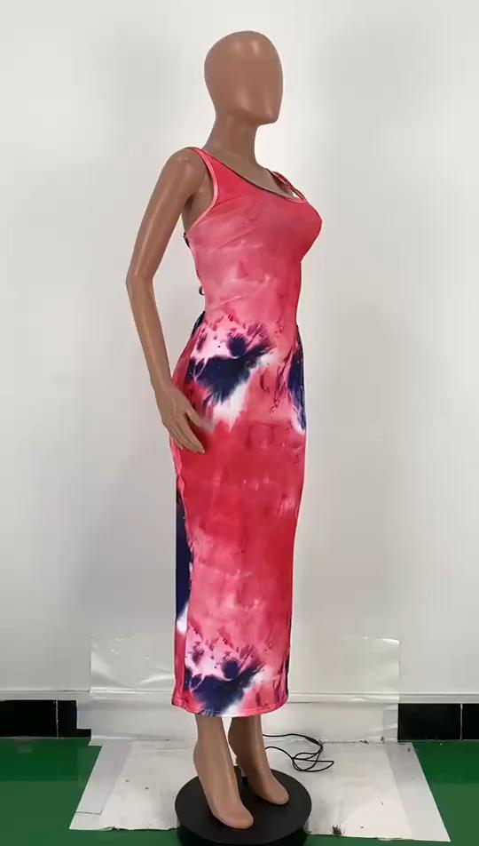 M10278 2020 Nouvelle arrivée femmes vêtements Offre Spéciale tie dye robe longue dos nu
