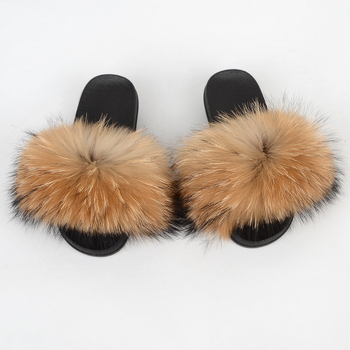 wholesaler fox and raccoon fur slides slippers