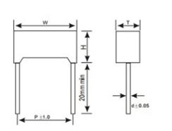 Matellized Polypropylene Film X2 Capacitor MKP 1uF 305VAC