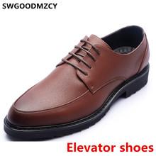 Коричневые модельные туфли; Мужская классическая официальная обувь; Мужская обувь из натуральной кожи; Итальянская Брендовая обувь, увелич...(Китай)