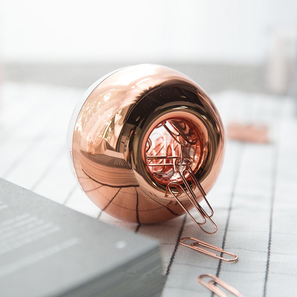 Desk Organizer Rose Gold Magnetic Paper Clips Holder Dispenser 28mm