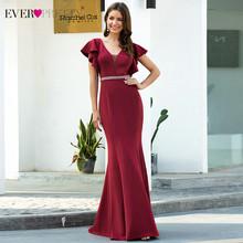 Бордовые вечерние платья Ever Pretty EP00669BD, короткий рукав с оборками, двойной v-образный вырез, бисером, драпировка, Русалка, вечерние платья(Китай)