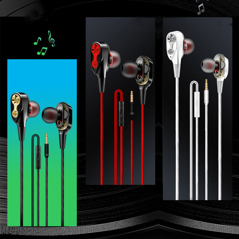 Double Drive In Ear Earphone Bass Subwoofer Stereo wired Earphones Microphone Sport Running Earbuds For Samsung iPhone Earphone