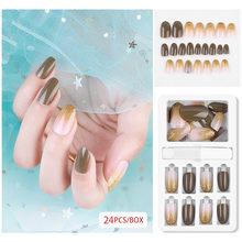 Самые новые модные популярные 30 шт женские красивые поддельные ногти съемные многоразовые палочки на ногти нажмите на полное покрытие накл...(Китай)