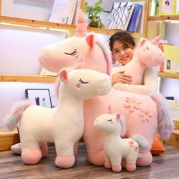 Factory Cute 35cm White & Pink Rainbow Horse Unicorn Plush Animal Toys Stuffed Soft Doll
