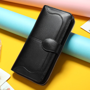 China Factory Real Leather Women's Purses Large Capacity Wallets Female Black Leather Clutch