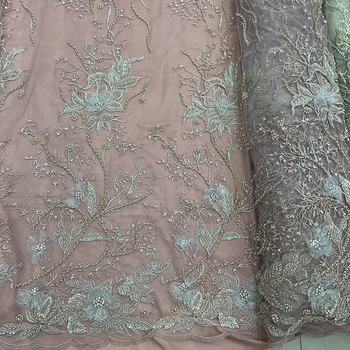 Wholesale handmade high quality green sequin lace fabric for evening dress