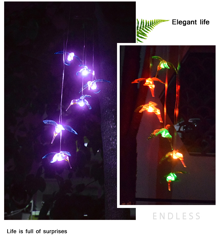 Solar power wind chime Wasserdicht Sechs Hummingbird Windspiele für Home Party Nacht Garten Dekoration