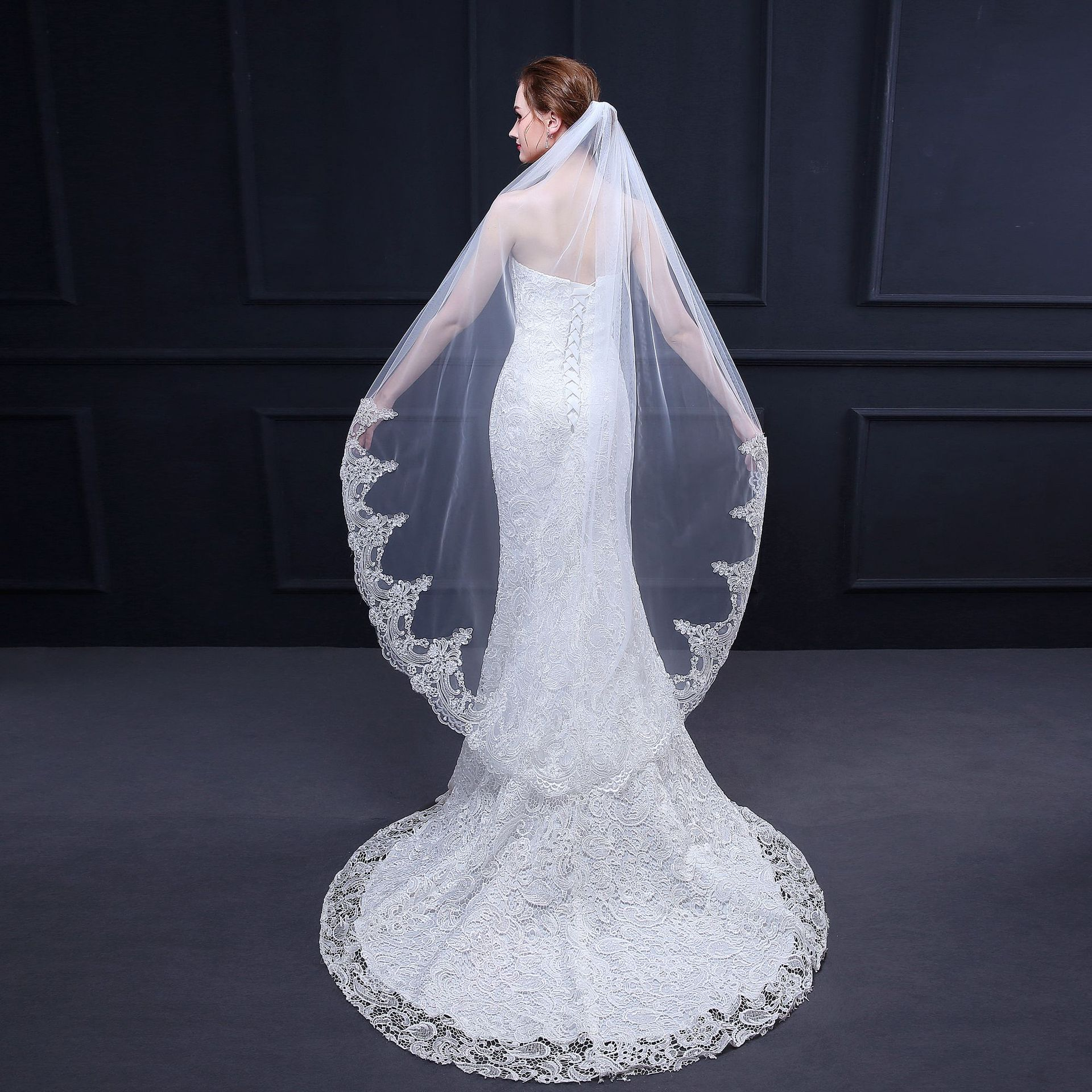 Europe and the United States Hot Sell Women Wedding Bridal Veil Lace women Wedding Veil
