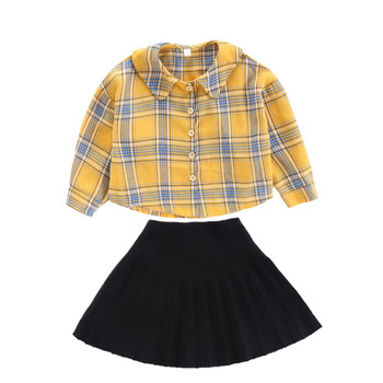 2019 autumn new design kids girls blouse and skirt sets with high quality