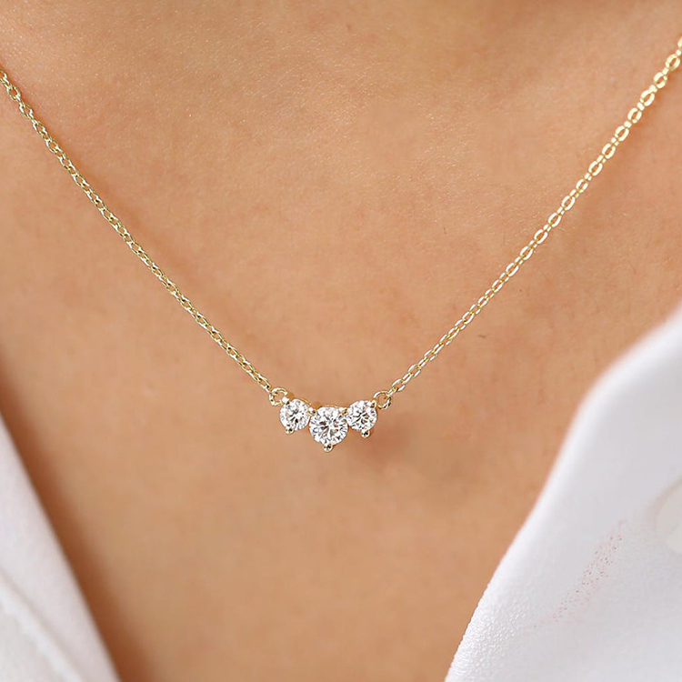 classic trio diamond necklace past present future prong setting 3 stone
