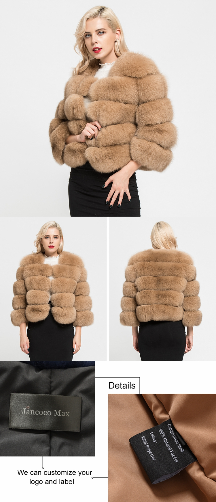 Luxury Women's Coats Real Natural Fox Fur 5 Rows Coat High Quality Outwear Winter Cropped Sleeves Jacket S1796