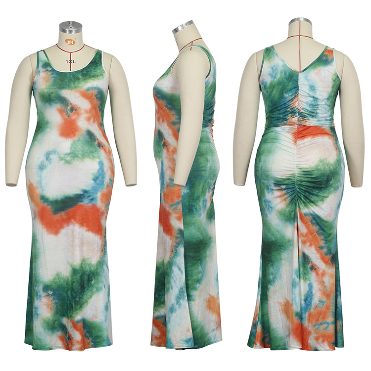 0060105 Best Seller Sleeveless Gradient Color Print Maxi Dress Fat Women Plus Size Casual Summer Back Pleated Long Dress