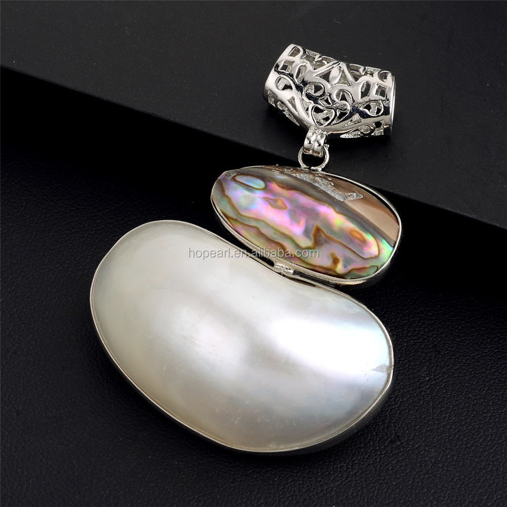 MOP129 Genuine Abalone Paua Shell and White Shell Pendant Natural Shell Gemstone Beach Jewelry