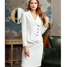 Женский офисный костюм, элегантный однобортный облегающий пиджак для офиса, Роскошный деловой костюм из 2 предметов, форма 2020(Китай)