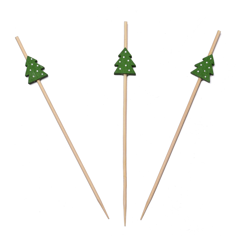 Hot sale Christmas tree shape red and green color <strong>bamboo</strong> <strong>decorative</strong> <strong>sticks</strong> , skewers for BBQ and Decoration