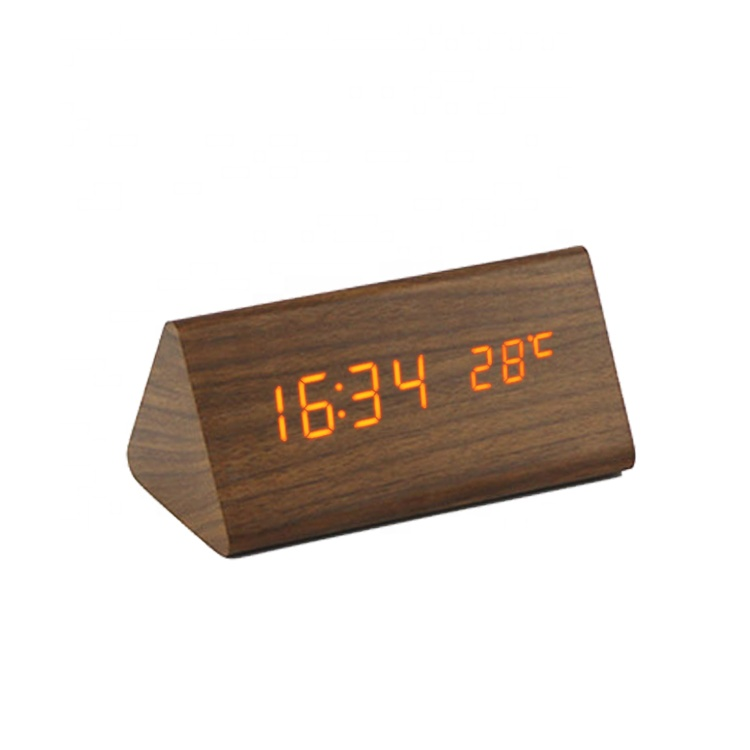EC-W012 Digital electronic wooden LED table alarm clock desktop wooden alarm clock calendar with color wood for home decoration