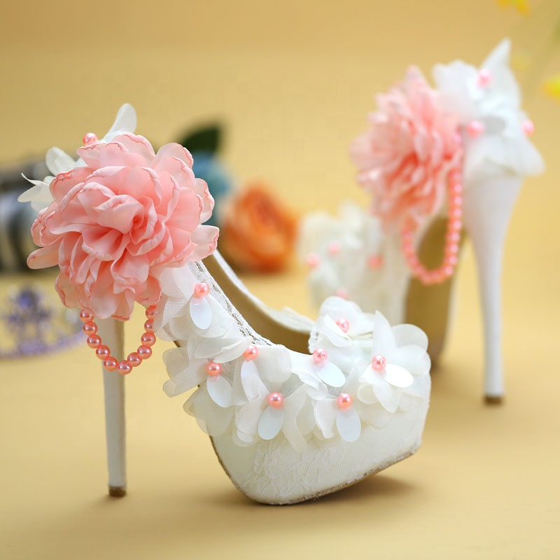 Sexy Pink Lace Floral Crystal Prom Heels Shoe Shiny Evening Dress Platform Pumps for Girl Woman Lady