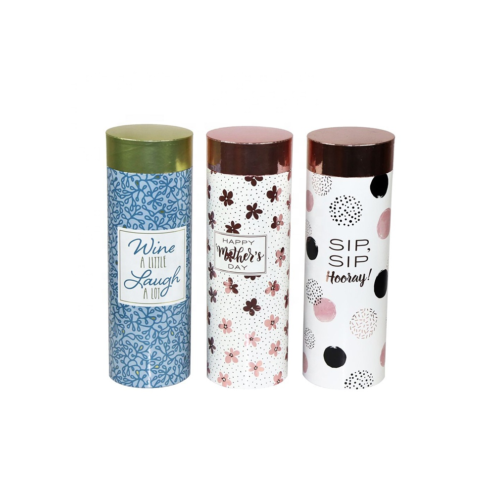 Glossy lamination custom printing PET paper mache round single bottle wine gift tube box with lid