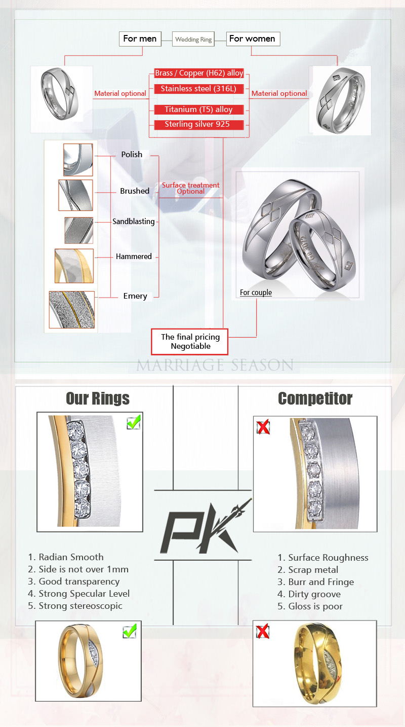 wholesale titanium diamond engagement ring sets rings for girl cz cubic zircon ring for men and women