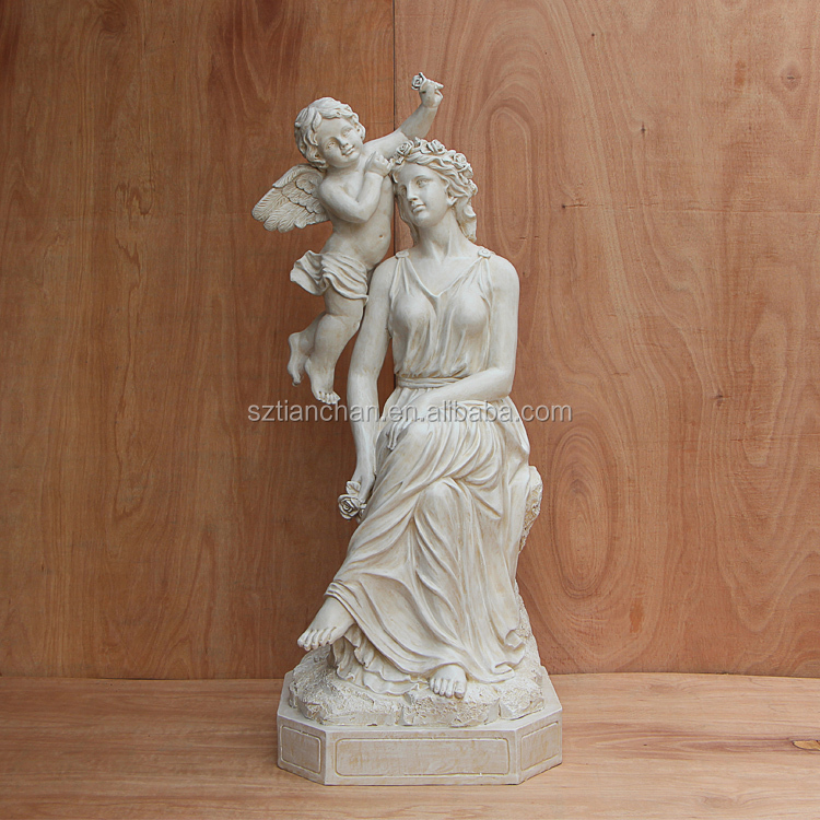 Customized Mother And Children Statue Western Goddess Venus And Cupid Angel Statue