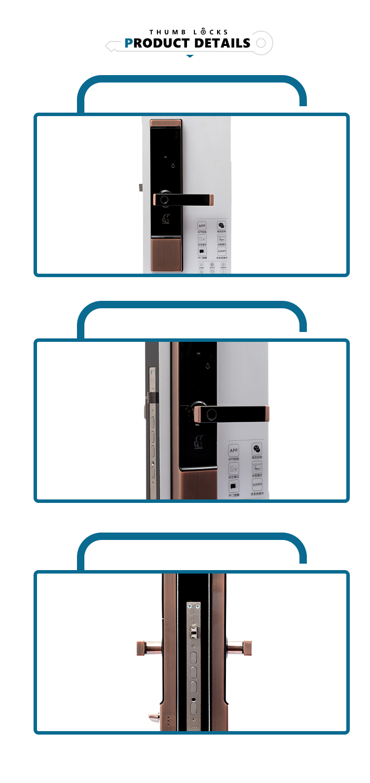 high quality digital biometric password fingerprint key smart door lock for house