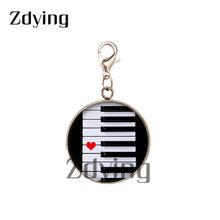 Zdying, нержавеющая сталь, основа, музыкальное обозначение, подвески, стекло, изображение Cabochon, музыкальная нота, подвеска для брелка, сумка, ак...(Китай)