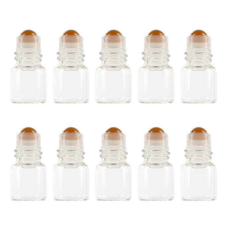10 шт./упак. 1 мл Прозрачный Стекло в роликовой бутылке образца Тесты флаконы для эфирных масел с поддерживающим роликом для путешествия косм...(Китай)