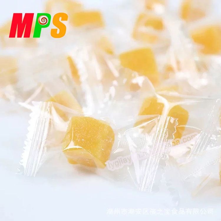 Individual packed cube mango flavored starch sweet jelly soft gummy candy