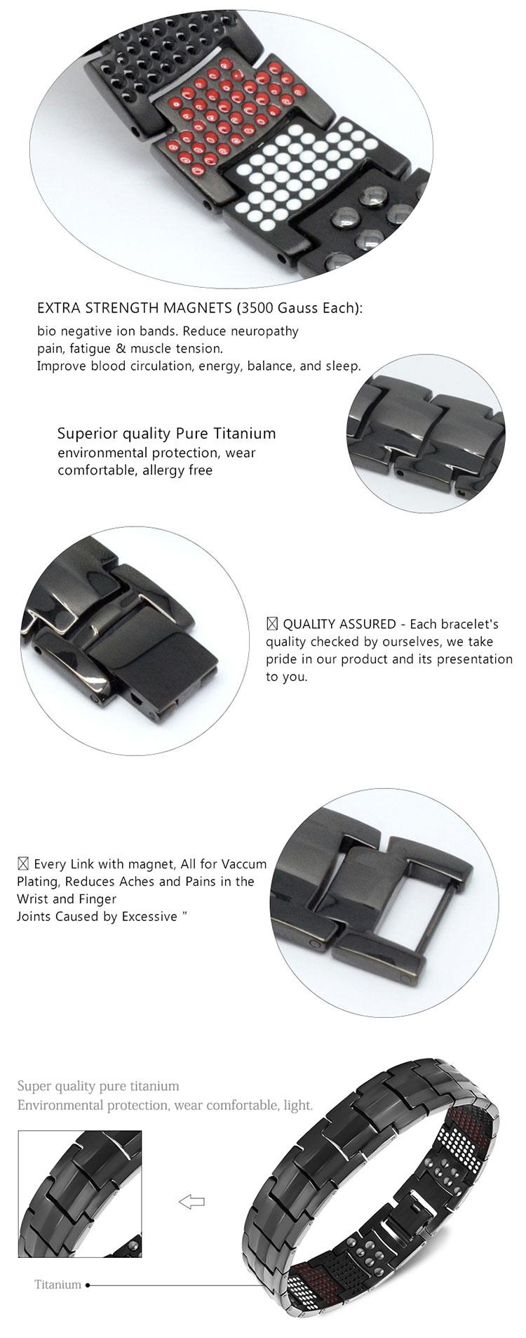 В наличии! Мужской Магнитный браслет, черный чистый титановый магнитный браслет, Япония, минимальный заказ