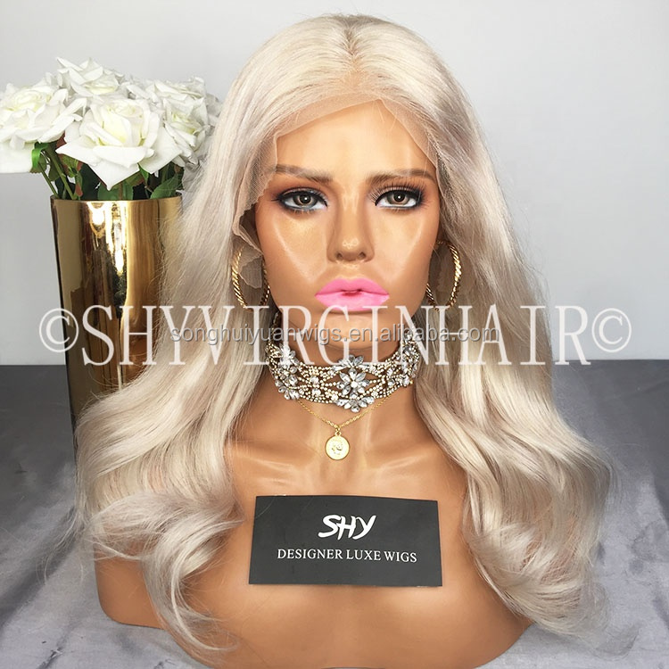 China Silver Body Wave Lace Wig For White Women