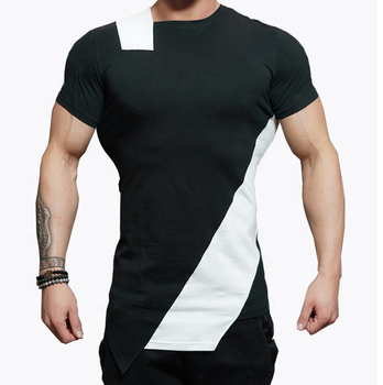 Men's stricking color matching short sleeve body building fitness gym tee sport t shirt