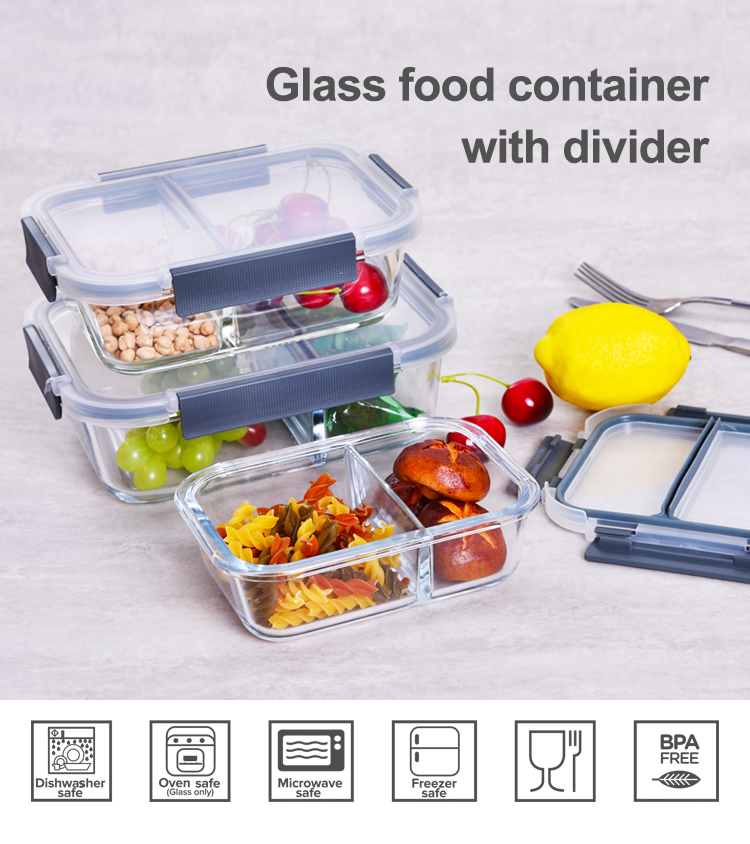 930ml food container glass meal prep with 3 compartments bpa divided glass lunch box