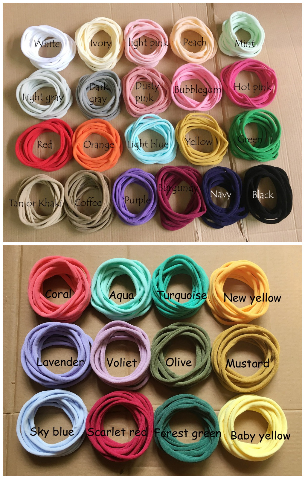 500 pcs 34 Solid Color Nylon Elastic Headbands Super Soft Stretchy Nylon Headbands one size fits most