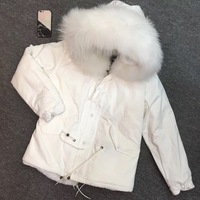 2019 Ready to shop white short furs lined winter lady pure color solid elegant female coat