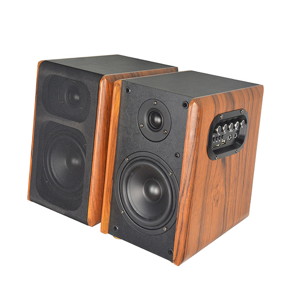 China supplier wooden USB TF Hi-Fi EQ AC power amplifier bookshelf blue tooth speaker