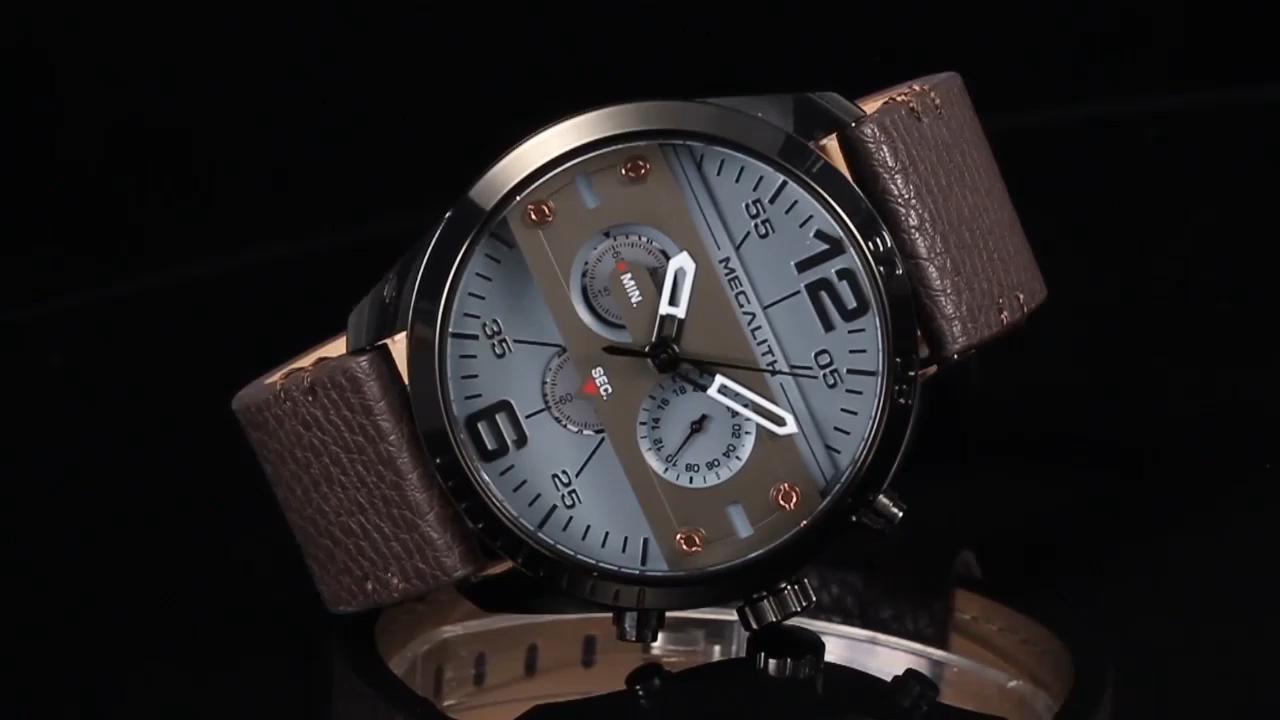 MEGALITH üst marka askeri spor saatler erkekler moda su geçirmez mavi deri kayış kuvars kol saatleri erkek saat Reloj Hombre