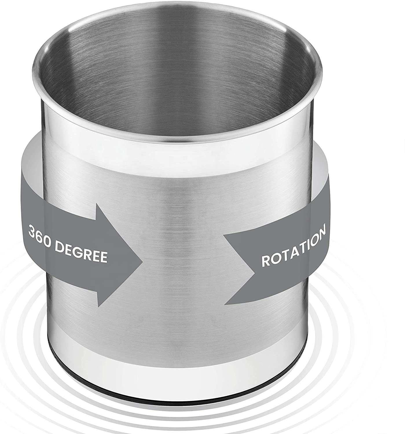 3 Compartments Removable Stainless Steel Rotating Knife Fork Bucket ,Kitchen Utensil Holder,Rotating Utensil caddy