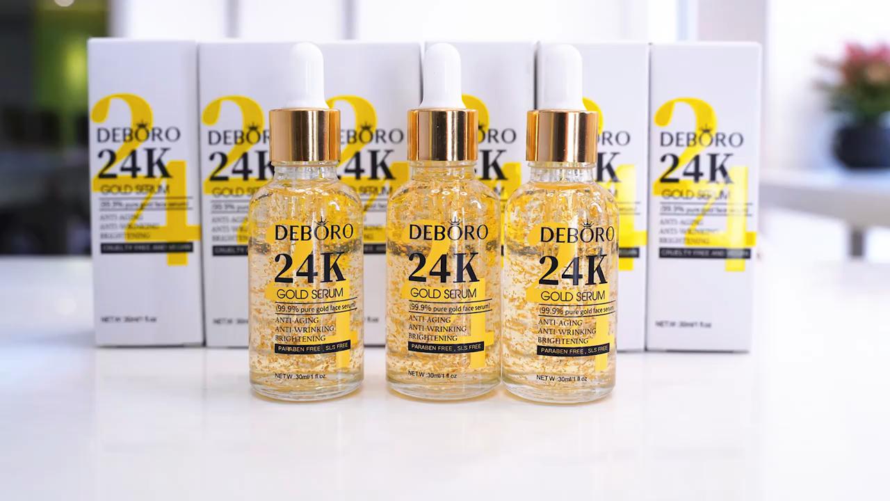 Private Label Wholesale Anti-Aging Anti-wrinkle Skin Care Pure 24K Gold Serum