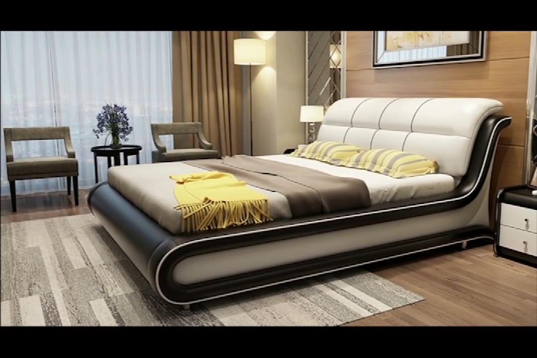 럭셔리 현대 디자인 침실 가구 스마트 침대 블루투스 스피커 마사지 다기능 장식품 부드러운 가죽 침대