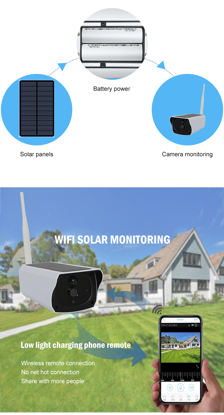 IP67 outdoor waterproof 1080P HD 4G online connection remote monitoring solar security camera