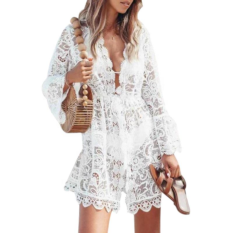 Women's Elegant Deep V-Neck Long Sleeves Handmade Casual Beach Wedding Dress White Sheer Mesh Lace Beach Cover Up Dresses