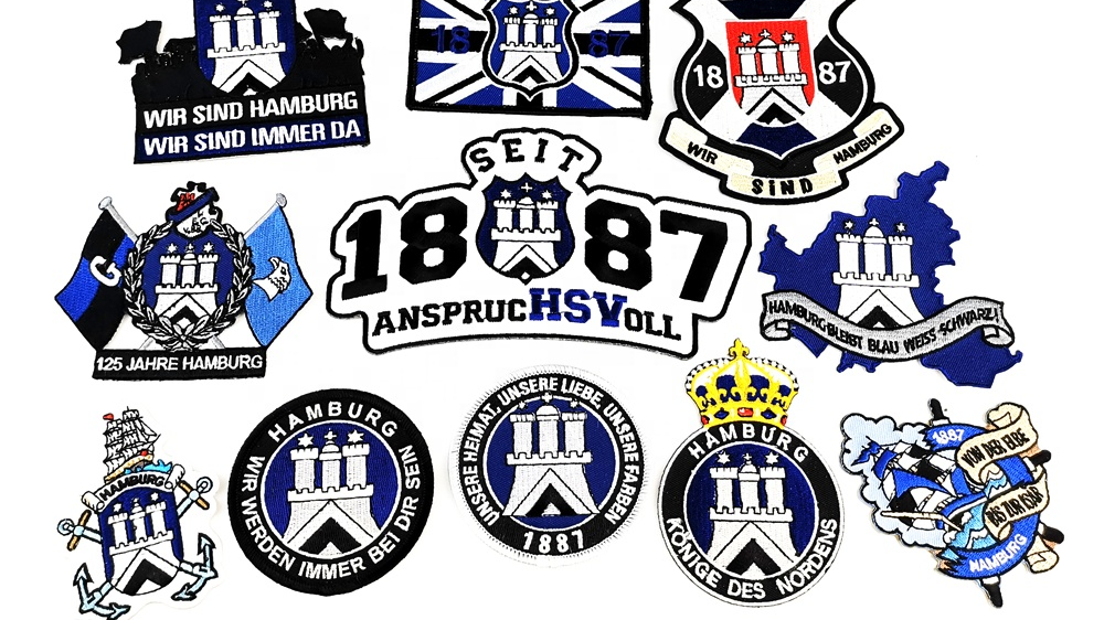 Oem patch crowns school custom logo name backpack embroidered patch