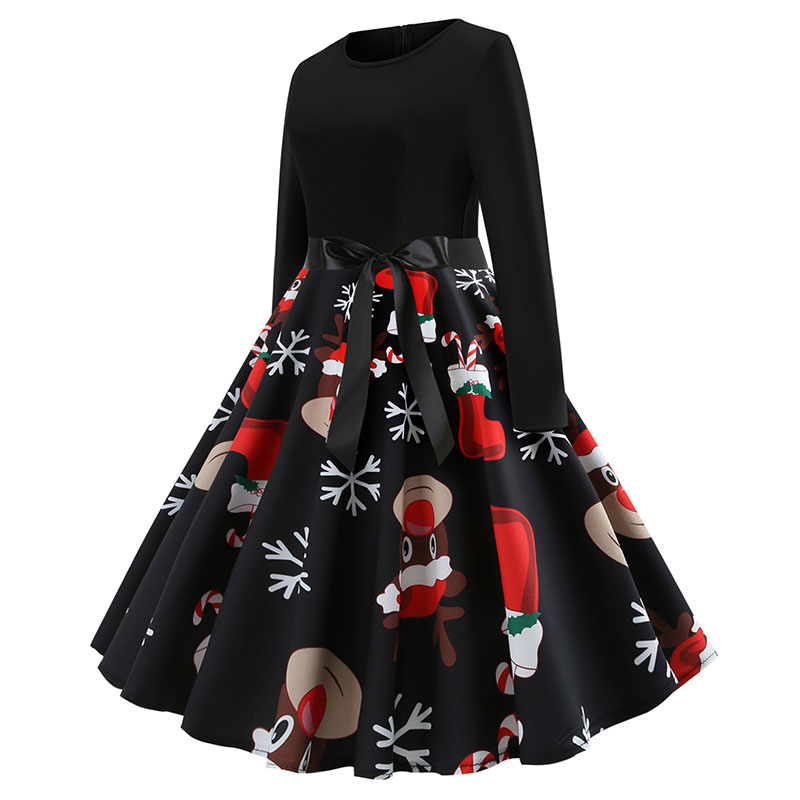 Black Big Swing Print Vintage Christmas Dress Women Winter Casual Long Sleeve o Neck Sexy New Year Party Dresses