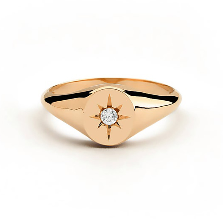 18K gold plated starburst ring 925 sterling silver compass ring dainty jewelry