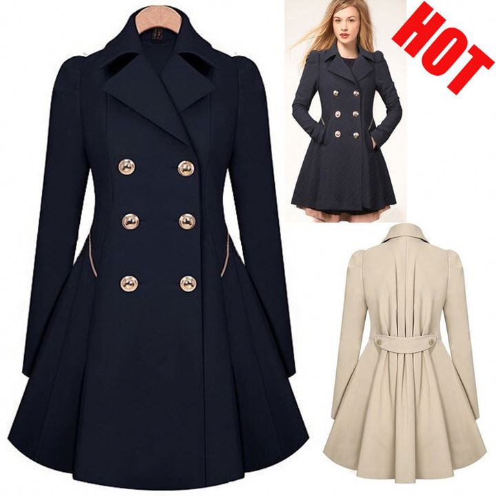 2020 Wholesale Ladies Fashion Solid Color Button Lapel windbreaker Long Spring autumn <strong>coat</strong> <strong>trench</strong> outwear jacket <strong>for</strong> <strong>women</strong>