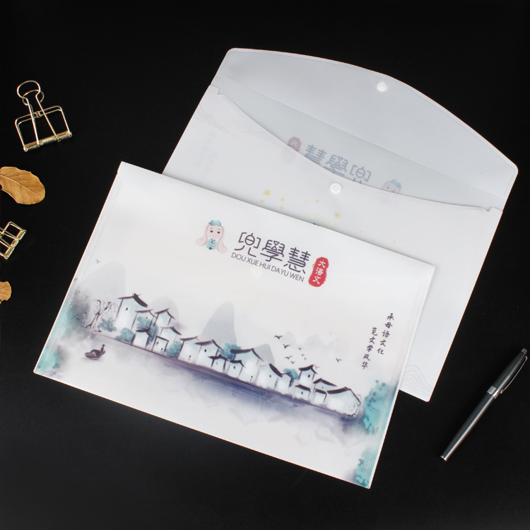 Manufacturers direct customized cartoon A4L folder mass stock PP file bag custom printed logo